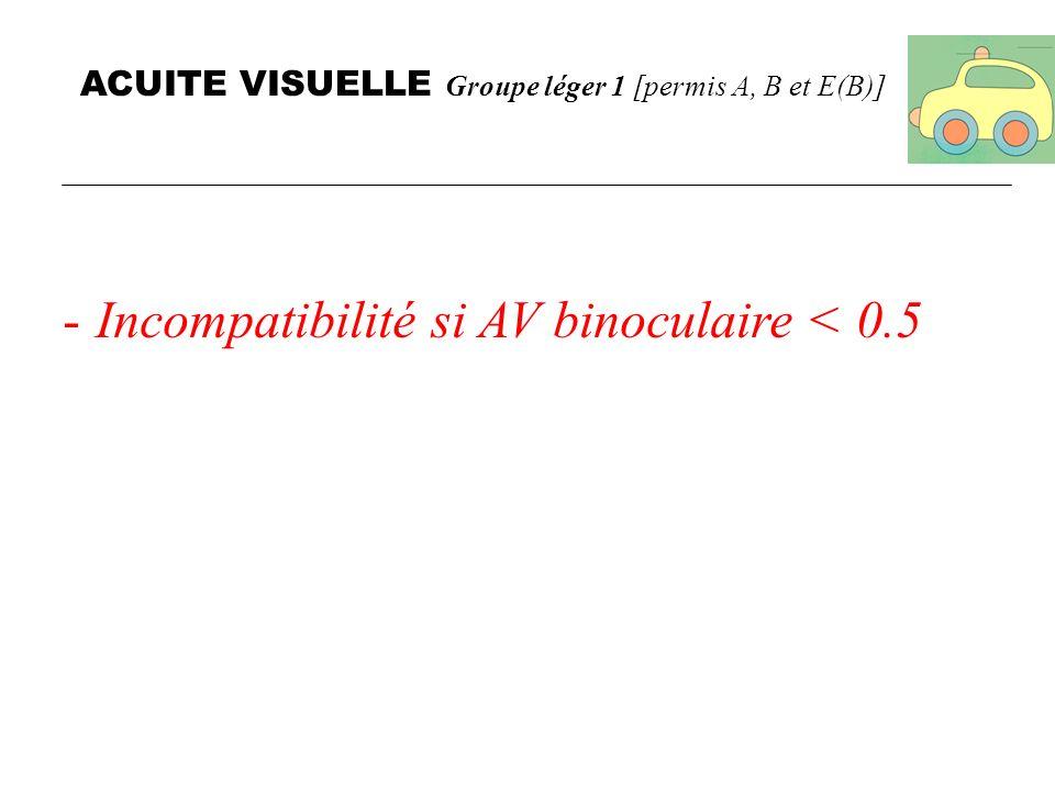 ACUITE VISUELLE Groupe léger 1 [permis A, B et E(B)]